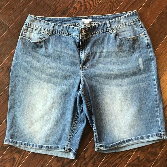 2420b4936f9 Cato Pants - Plus Size CATO Distressed Bermuda Jean Shorts